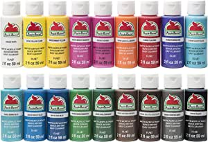 Apple Barrel PROMOABI Matte Finish Acrylic Craft Paint Set Designed for Beginners and Artists, Non-Toxic Formula that works on All Surfaces, Assorted Colors 1, 18 Count