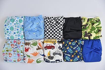 Pack de 10 Pañales de tela con insertos de 20 de bolsillo (2 insertos por