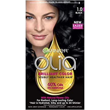 Amazoncom Garnier Olia Hair Color 10 Black Ammonia Free Black