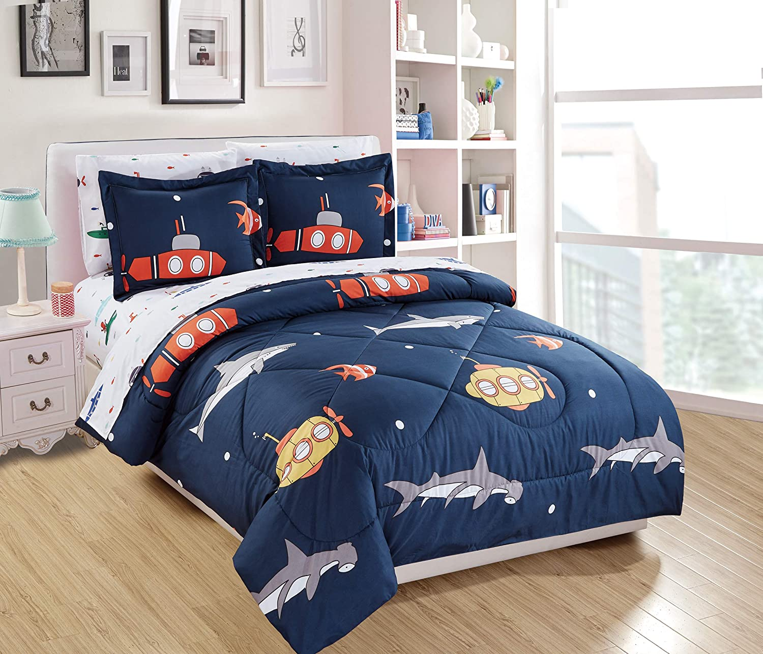 Fancy Linen 5pc Twin Comforter Set Sharks Fishes Submarine Navy Blue Grey Yellow Orange White New