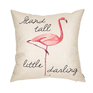 "Fjfz Stand Tall Little Darling Watercolor Flamingo Motivational Sign Girly Inspirational Decoration Nursery Décor Cotton Linen Home Decorative Throw Pillow Case Cushion Cover Sofa Couch, 18"" x 18"""