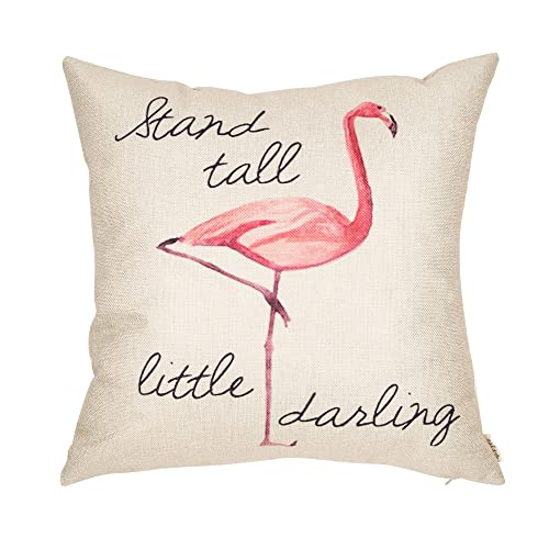 Fjfz Stand Tall Little Darling Watercolor Flamingo Motivational Sign Inspirational Quote Cotton Linen Home Decorative Throw
