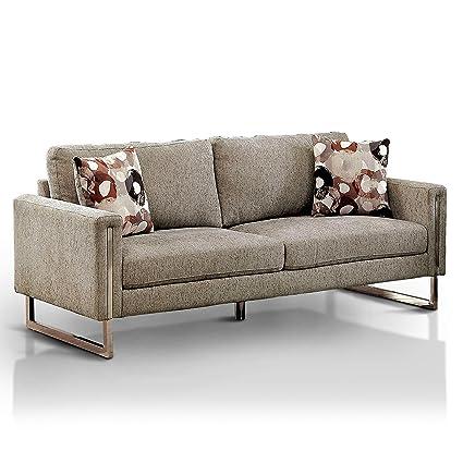 Amazon.com: Furniture of America Madrid Pewter Microfiber ...