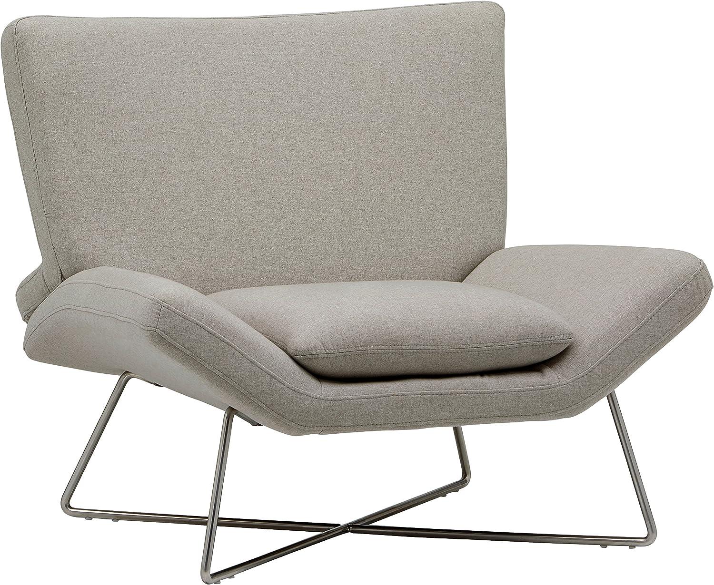 Brand – Rivet Farr Lotus Accent Chair, Felt Grey: Kitchen & Dining