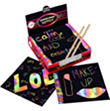 Scratch Art Kit – Magic Scratch Off Notes & [2] Stylus Tools for Kids & Adults – 100 Black Paper Sheets – Create Colorful Rainbow Cards, Bookmarks, Notes, Pictures & Other Art Without Ink