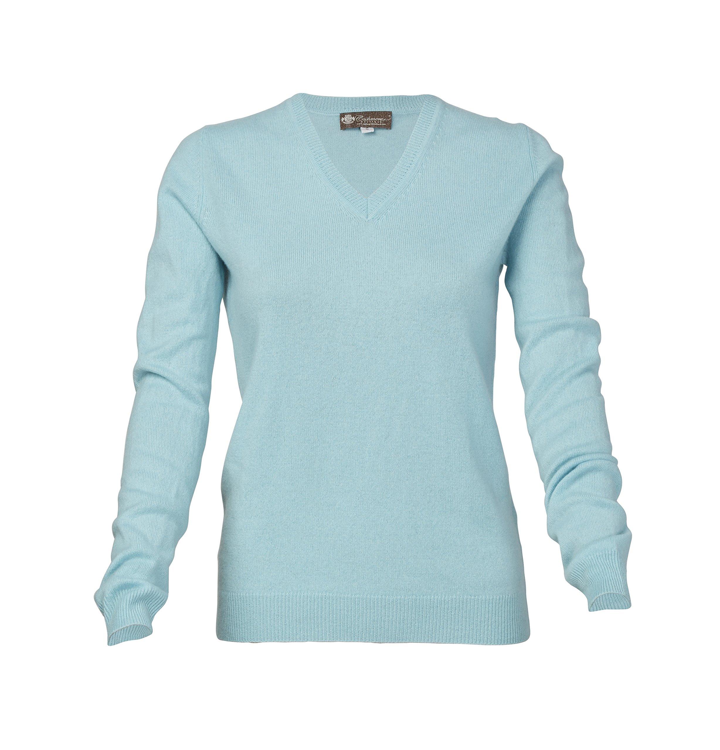 Women's Cashmere V-Neck Sweater (Blue Topaz, Medium)