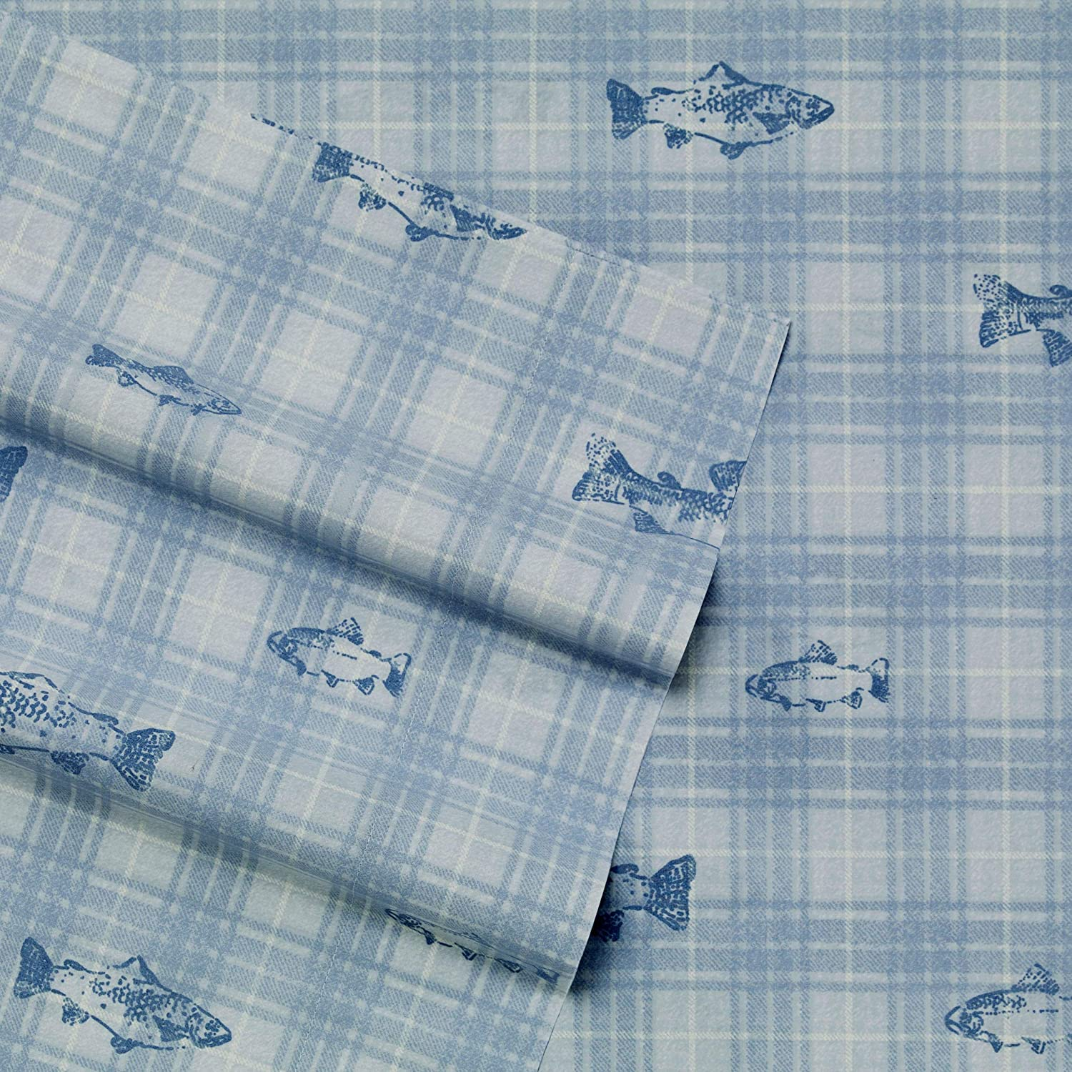 Eddie Bauer Home | Methow Collection | 100% Cotton Percale Plaid Sheet Set, 4-Piece Bedding Set, Cool Crisp & Light-Weight, Easy Care Machine WashableKingBlue
