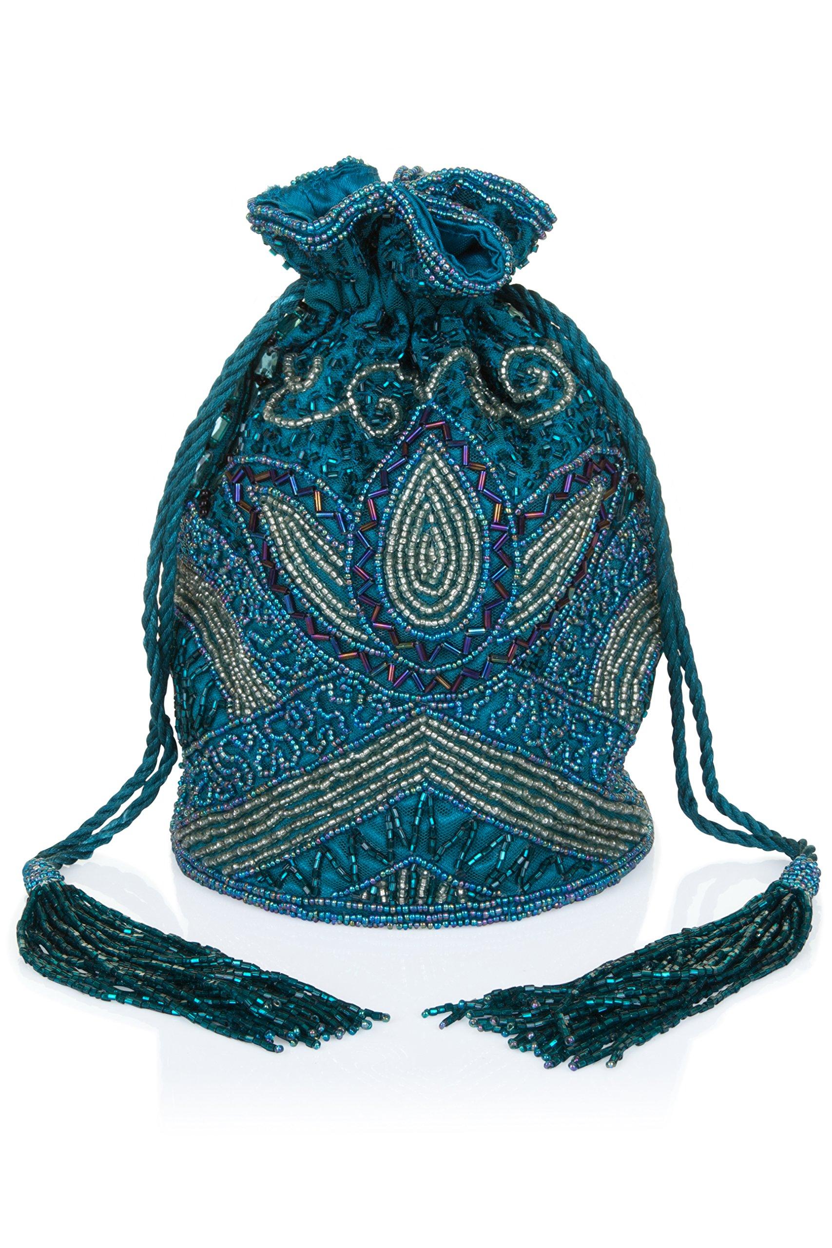 Beatrice Vintage Inspired Hand Embellished Bucket Bag in Teal