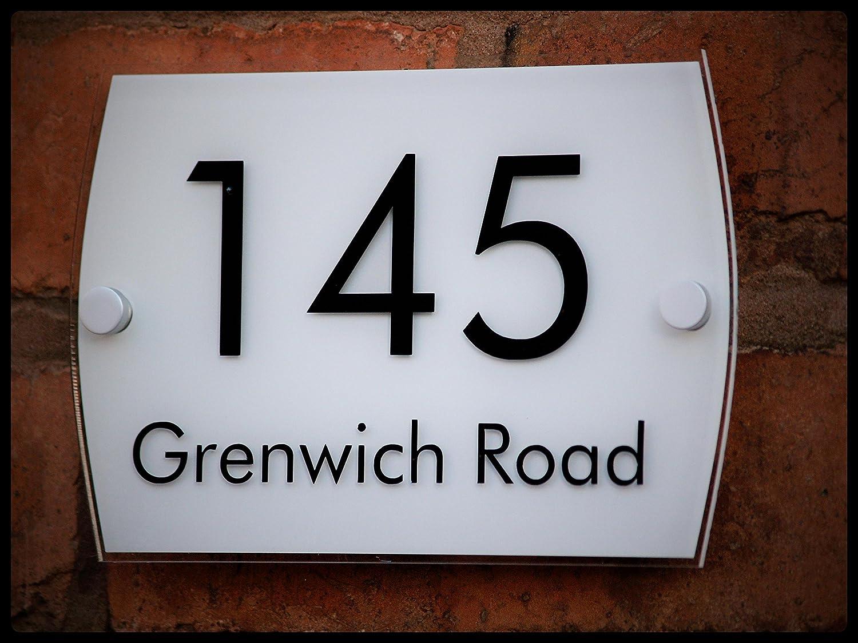 Señal para casa acrílico con texto en inglés para puerta placa número Flipmycover street blanco - W02 TetheredEnd