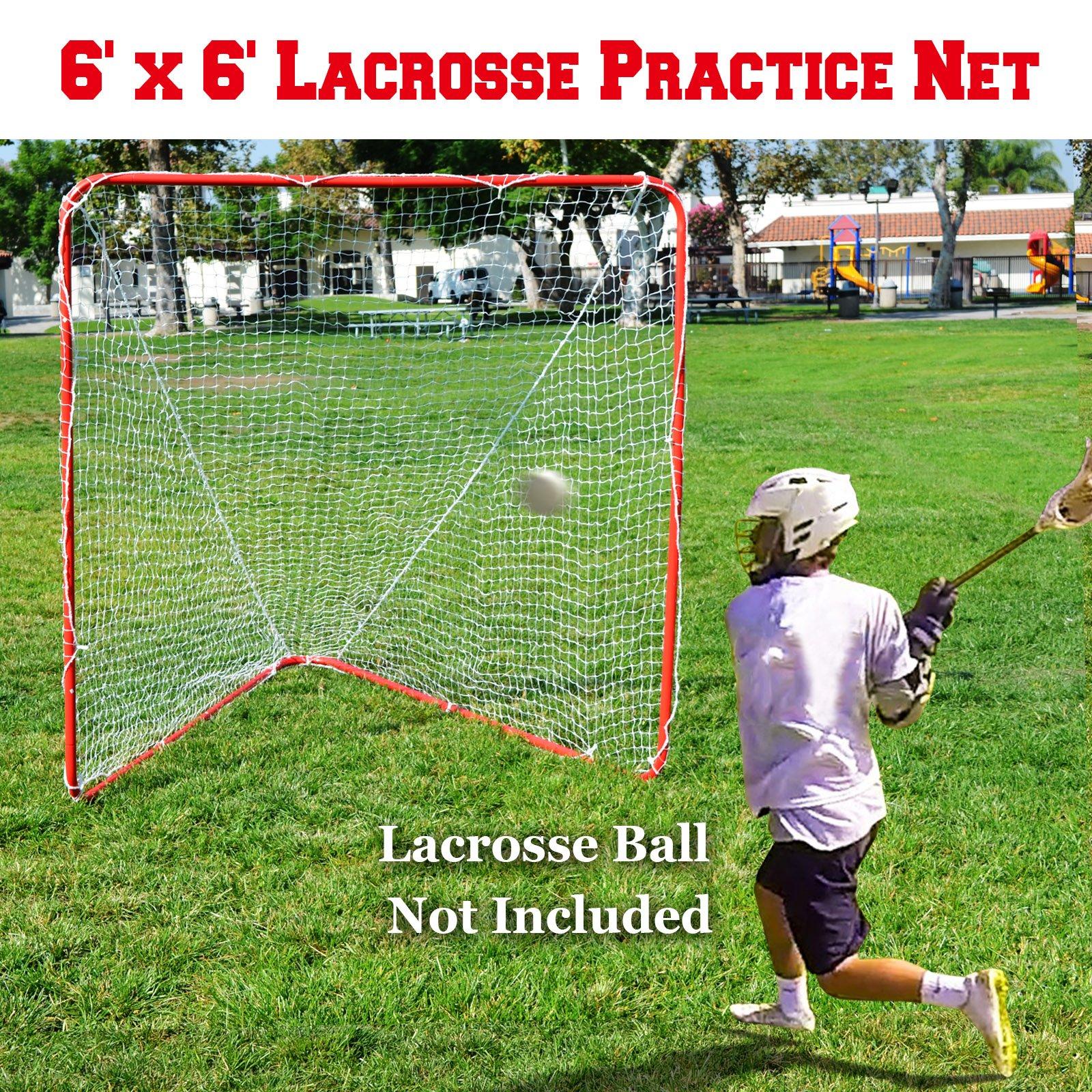 BenefitUSA Portable Lacrosse Practice Net 6' X 6' X 7' Quick Set Up Lacrosse Goal