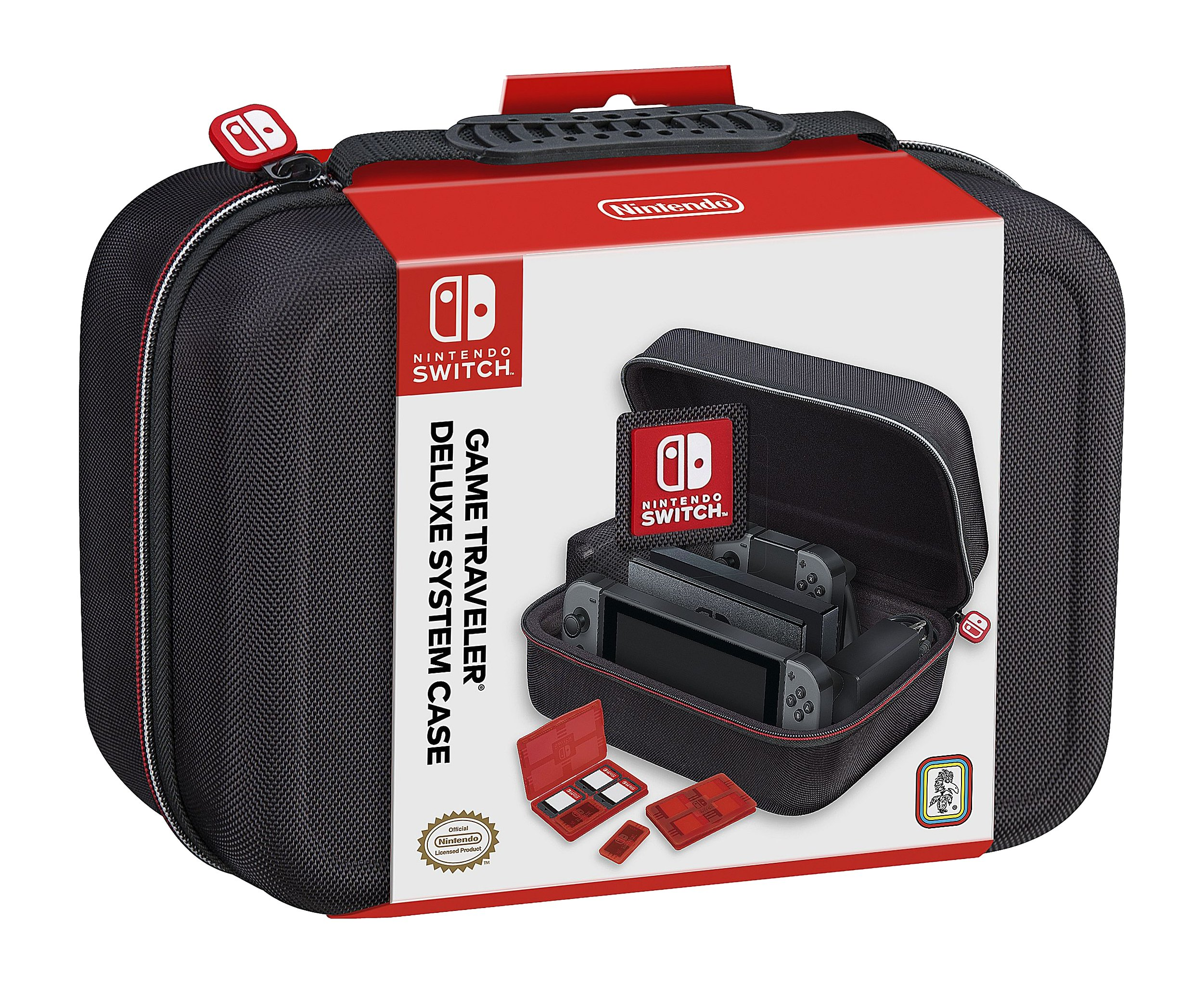 RDS Industries Nintendo Switch System Carrying Case - Protective Deluxe Travel System Case - Black Ballistic Nylon Exterior - Official Nintendo Licensed Product
