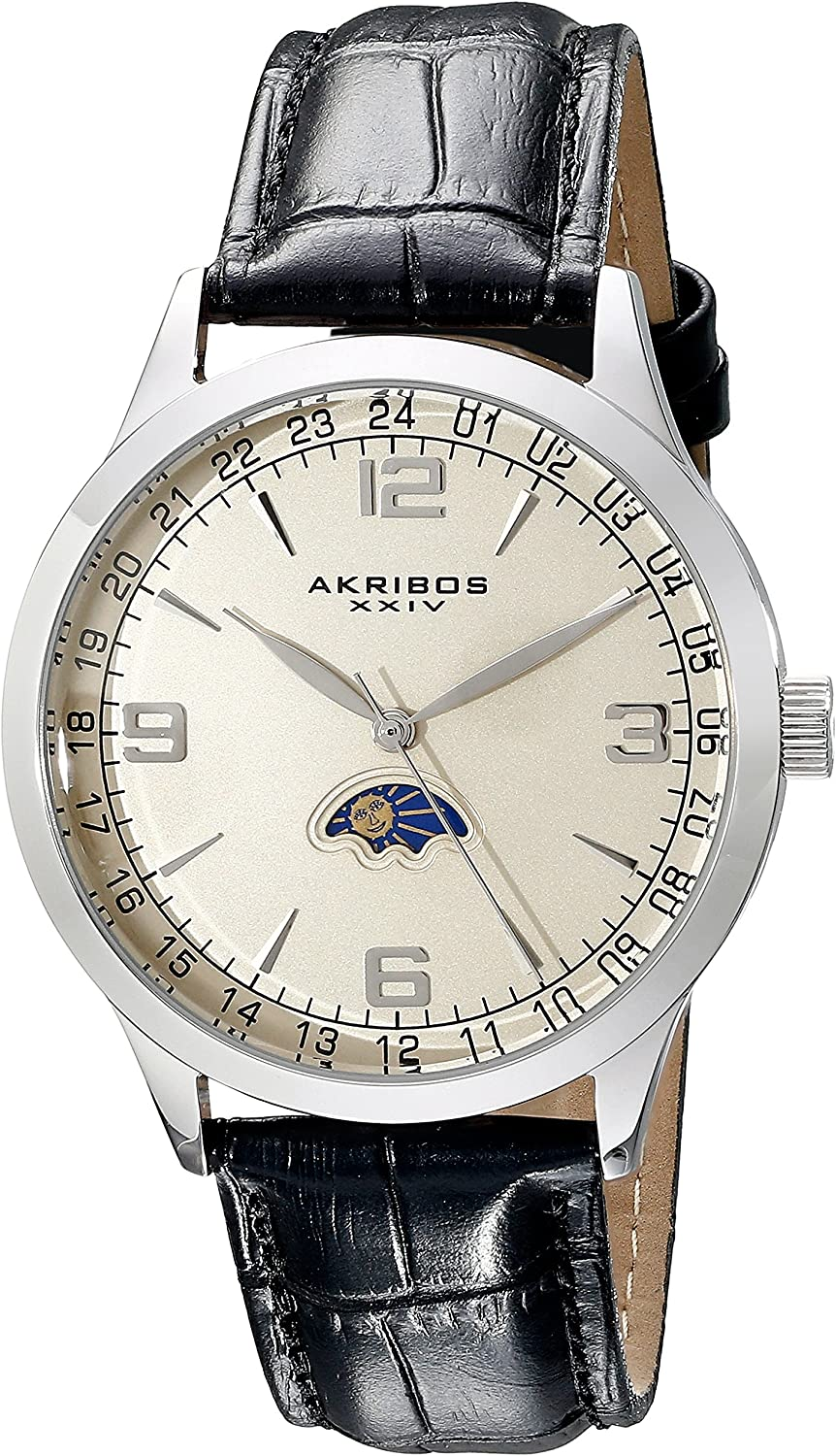 Akribos XXIV Men's Watch - Simple and Crisp and Clear Dial with Am/Pm Moonphase Indicator On Alligator Pattern Leather Band - AK637