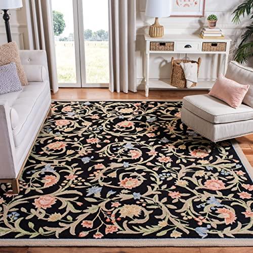 Safavieh Chelsea Collection HK248B Hand-Hooked Black Premium Wool Area Rug 8 9 x 11 9