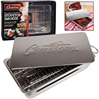 """Indoor - Outdoor Stovetop Smoker w Wood Chips and Recipes - 11"""" x 7"""" x 3.5"""" Stainless Steel Smoker - Works On Any Heat Source in your Kitchen or on the Grill"""