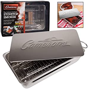 "Indoor - Outdoor Stovetop Smoker w Wood Chips and Recipes - 11"" x 7"" x 3.5"" Stainless Steel Smoker - Works On Any Heat Source in your Kitchen or on the Grill"