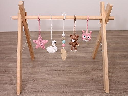 Amazoncom Pink Gold Woodland Baby Gym Mobiles Set Of 5 Swan