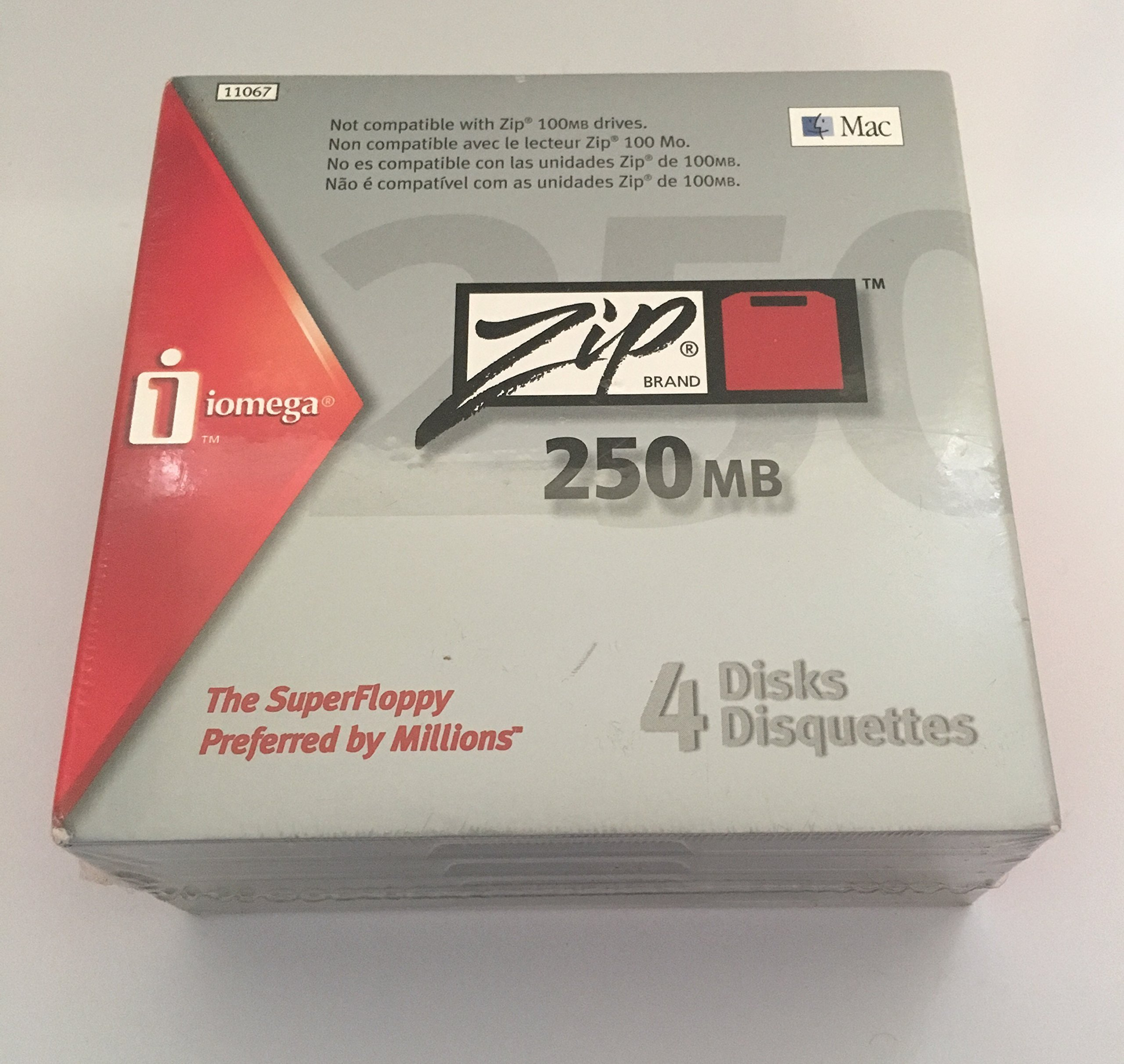 Iomega 11067 Zip 250 MB Disks Mac Formatted (4-Pack) (Discontinued by Manufacturer) by Iomega