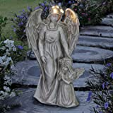 Exhart Angel Garden Statue with Little Girl – Light Up Resin Angel Figurines Feature Battery-Powered LED Lights Timer - Angel