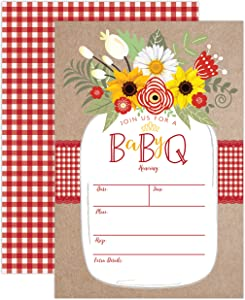 Baby BBQ Invitation, Baby Shower Invite, Baby Q Barbeque Summer Invition Mason Jar Floral, 20 Fill in Invitations and Envelopes