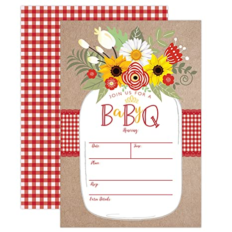 image relating to Baby Printable identified as Little one BBQ Invitation, Kid Shower Invite, Child Q Barbeque Summer time Invition Printable, Mason Jar Floral, 20 Fill within Invites and Envelopes