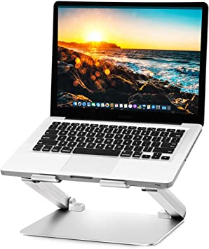 Soundance Adjustable Laptop Stand for Desk Ergonomic Laptop Riser Holder Compatible with 10 to 17.3 Inches Notebook PC Computer Computer Stand Aluminum Silver