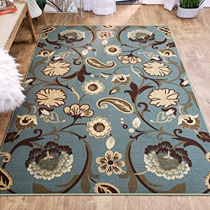 Amazon Com Area Rug 3x5 Teal Floral Kitchen Rugs And Mats Rubber