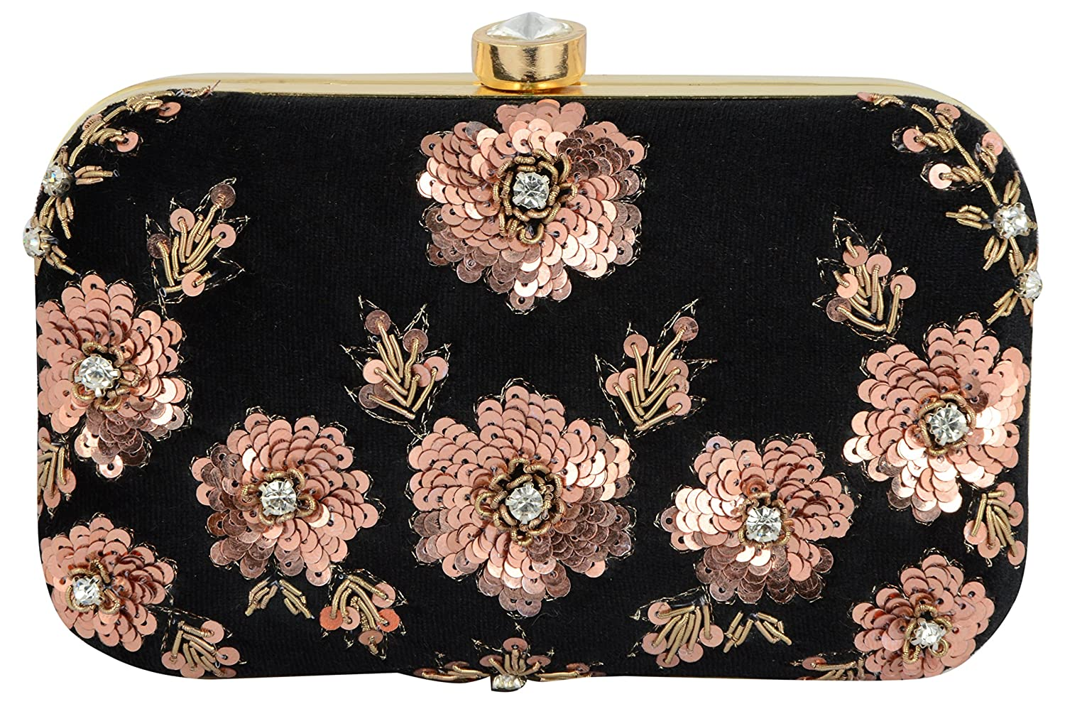 Tooba Women s Black Velvet Handicraft Hand Embroidered Box Clutch Bag Purse  for Bridal 9bb1c0ab07656