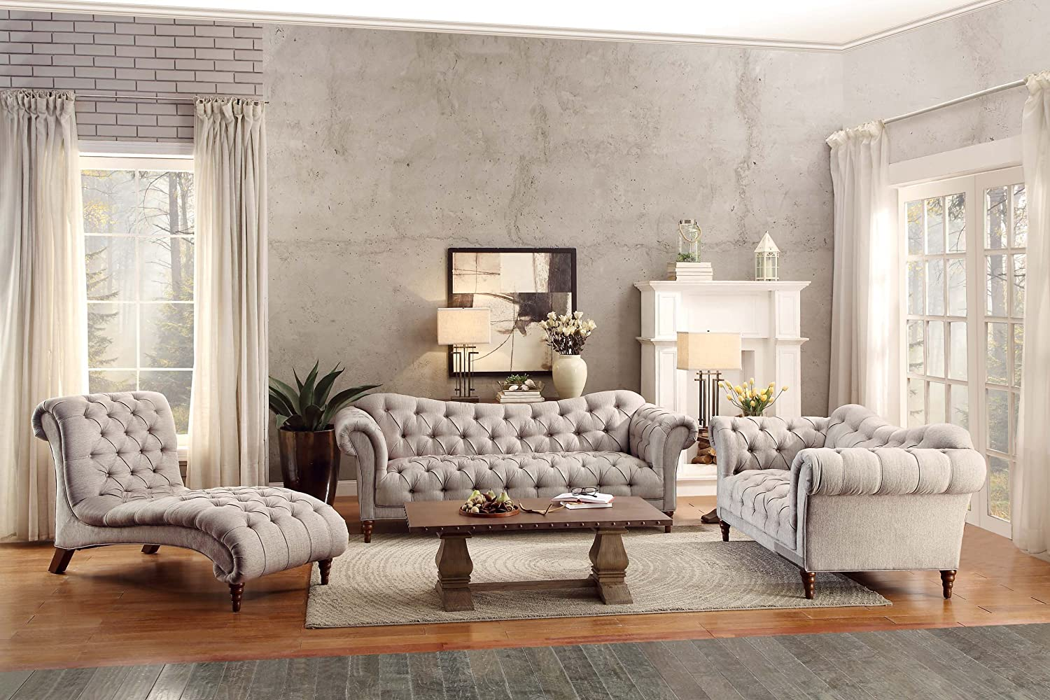 70 Claire Fabric Chesterfield Loveseat Homelegance St Almond Brown