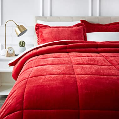 AmazonBasics Micromink Sherpa Comforter Set - Ultra-Soft, Fray-Resistant -  Full/Queen, Red