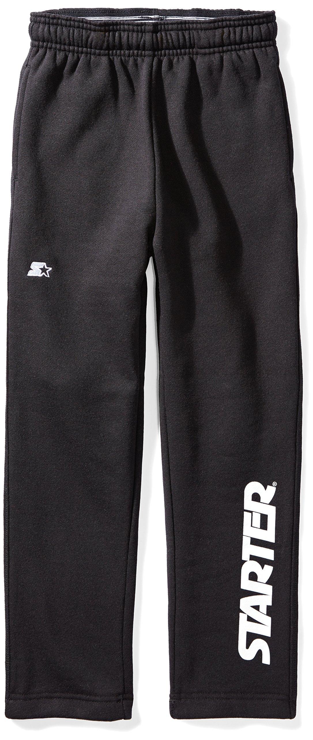 Starter Boys' Open-Bottom Logo Sweatpants with Pockets, Amazon Exclusive, Black with White Logo, M (8/10)