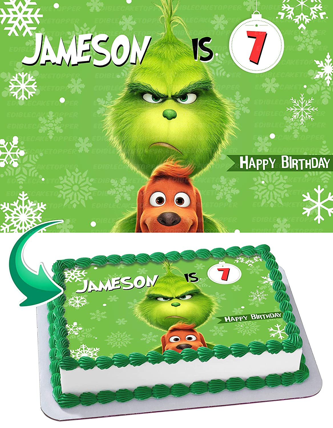 THE GRINCH Christmas Edible Cake Image Topper Personalized Birthday 1 4 Sheet Custom Party Sugar Frosting Transfer Fondant Best