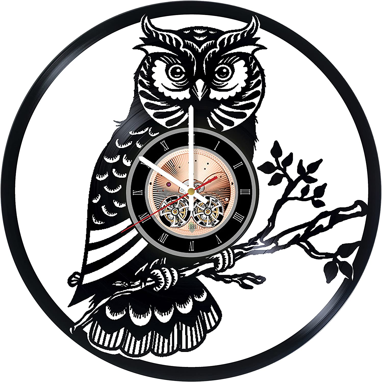 Amazon Com Night Owl Vinyl Record Wall Clock Kids Room Or Nursery Room Wall Decor Gift Ideas For Children Teens Nature Unique Art Design Home Kitchen