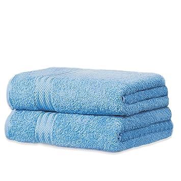 restmor Knightsbridge Set de 2 Toallas de Baño Extra-Grandes de 100% Algodón Egipcio Peinado 500g/m2 Azul Cobalto: Amazon.es: Hogar