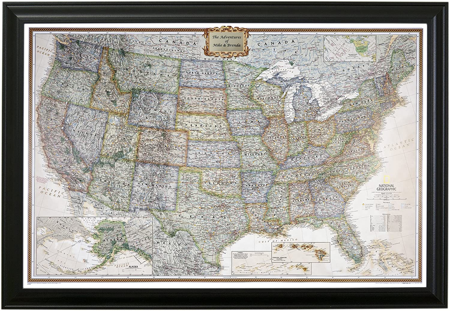 Personalized Us Travel Map With Pins Amazon.com: Push Pin Travel Maps Personalized Executive US with
