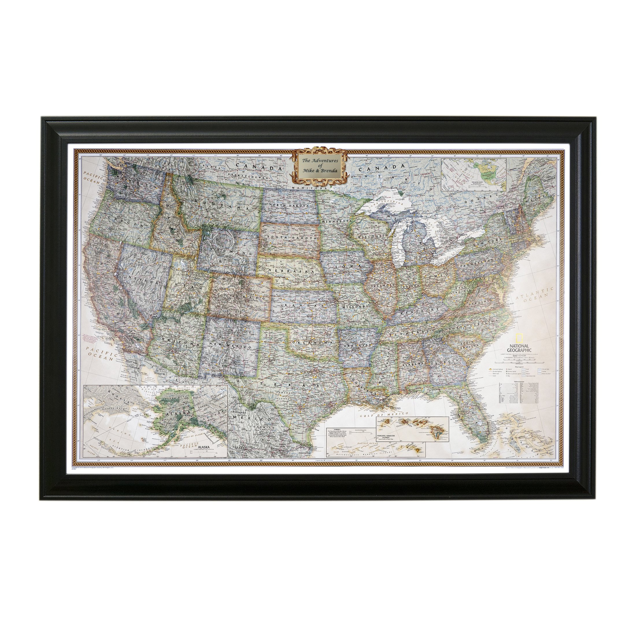 Personalized Executive US Push Pin Travel Map with Black Frame and Pins 24 x 36 by Push Pin Travel Maps (Image #1)