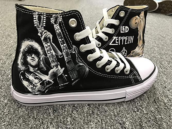 d6ae848351 Amazon.com  Men Women Sneakers Led Zeppelin Jimmy Page Hand Painted Shoes  Custom Sneakers Free Shipping  Handmade