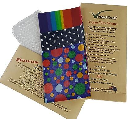 Practicool 3 Reusable Vegan Food Wraps With Bonus Silicone Wrap Rainbow Design 35 Centimeters
