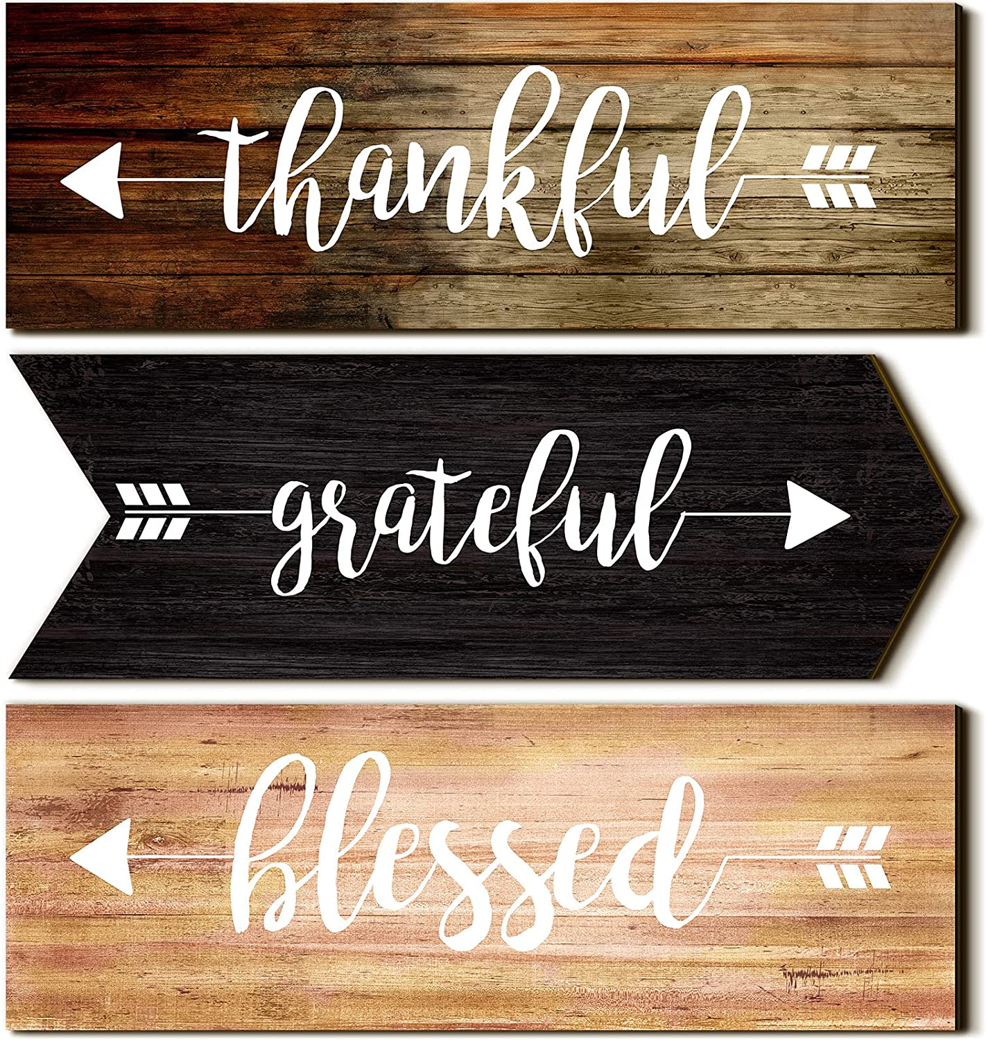 Jetec 3 Pieces Hanging Wall Signs Thankful Grateful Blessed Wooden Signs Rustic Wall Art Decor Welcome Plaque Sign for Farmhouse Outdoor Decor (Assorted Color)