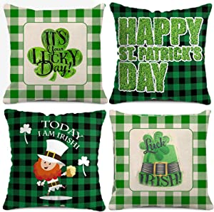 BOUNONT St. Patricks Day Decorations Pillow Covers, 18x18 Set of 4 for Irish Lucky Shamrock Home Decor, Throw Pillow Cushion Case for Sofa/Car/Farmhouse