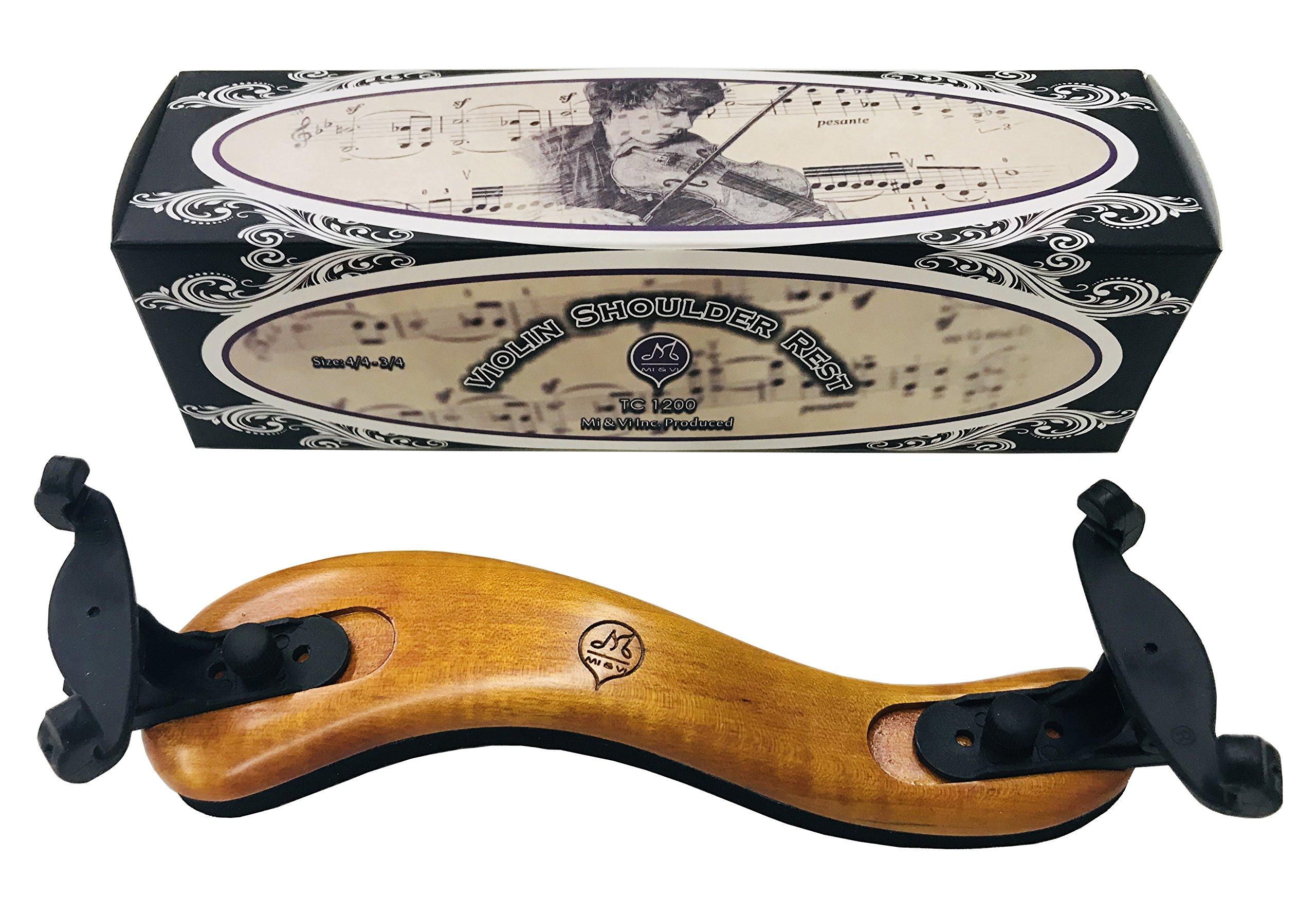 MI&VI Violin Shoulder Rest - Real Maple Wood, Round, Collapsible, Adjustable, Excellent Support Grip (Violin 4/4-3/4)
