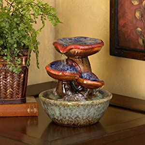 "John Timberland Toadstool 9 1/4"" High Three Tier Tabletop Fountain"