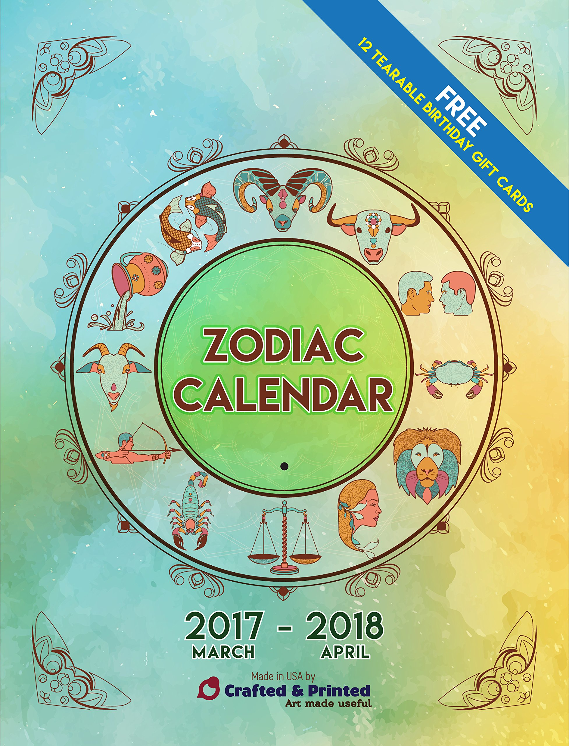 Zodiac Calendar 2017 2018  Starts in Aries (March)  Wall mounted  12 free  Signs gift cards  Monthly lunar phases  Constellations signs