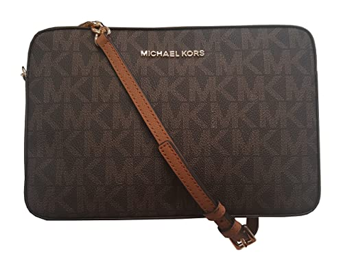 NEW MICHAEL KORS JET SET ITEM LARGE EW CROSSBODY MK SIGNATURE BROWN ACORN | eBay