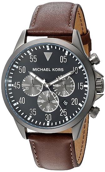 MICHAEL KORS GAGE RELOJ DE HOMBRE CUARZO 45MM ANALÓGICO CORREA DE CUERO MK8536: Michael Kors: Amazon.es: Relojes