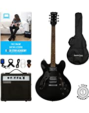 Stretton Payne 335 - Guitarra eléctrica semiacústica con amplificador de práctica, bolsa acolchada, correa