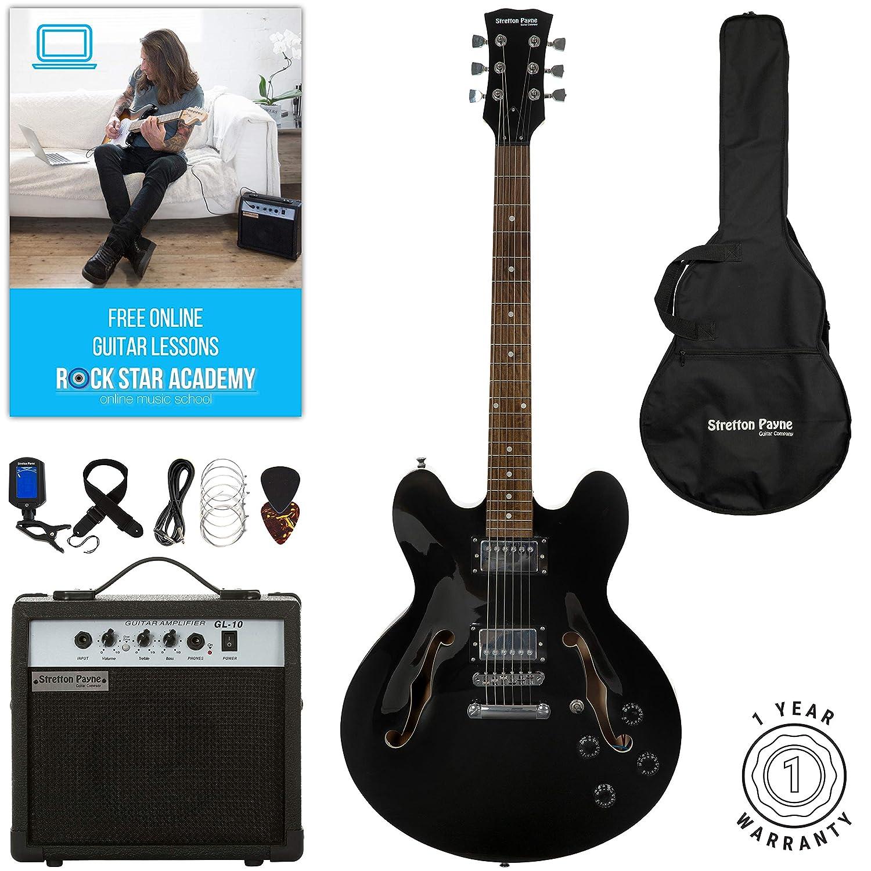 Stretton Payne 335 - Guitarra eléctrica semiacústica con amplificador de práctica, bolsa acolchada, correa, correa, plomo, púa, sintonizador, ...