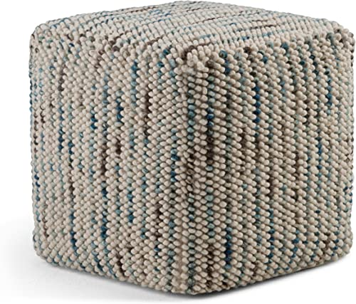Simpli Home Zoey Cube Woven Pouf, Footstool, Upholstered in Multi Color Cotton and Wool, for the Living Room, Bedroom and Kids Room, Transitional, Modern