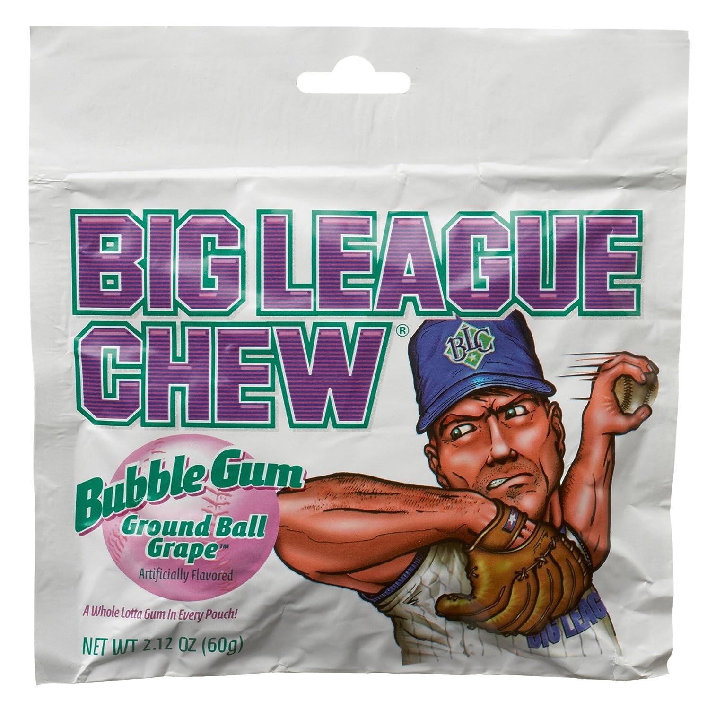 Big League Chew, Ground Ball Grape Bubble Gum, 2.12-Ounce Pouches (Pack of 12)