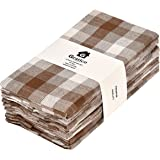 Gratico Dinner Napkins, Everyday Use, Premium Quality,100% Cotton, Set of 12, Size 20X20 Inch, Brown/Ivory Over Sized Cloth N