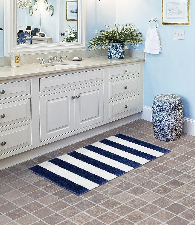 Amazon Com Garland Rug Beach Stripe Bath Rug 21 X 34 Indigo Blue White Furniture Decor